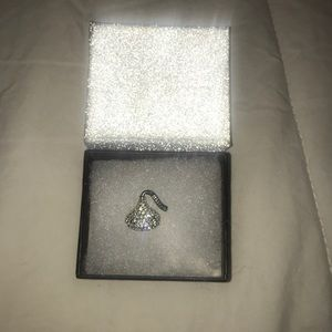 silver plated brass crystal hershey kiss pendant